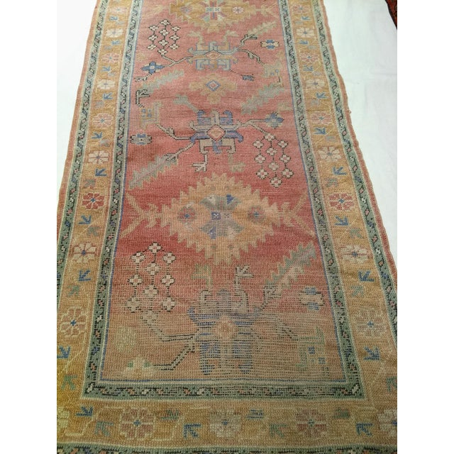 """Turkish Late 1800s Turkish Oushak Runner- 3' 5"""" X 14' 5"""" For Sale - Image 3 of 13"""