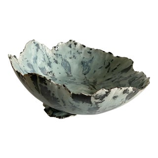 Original Light Blue Abstract Pottery Bowl Artist Signed For Sale
