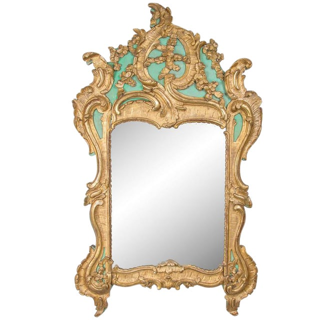 Exquisite French Louis XV Green Painted and Parcel-Gilt Mirror For Sale
