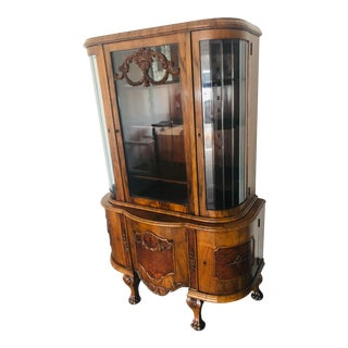Late 1800s Art Nouveau German China Cabinet For Sale