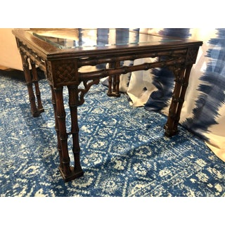 1980s Chippendale Fretwork Faux Bamboo Palm Beach Coffee Table Preview