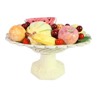 1940s Handmade Porcelain Italian Topiary Fruit on Lattice Pedestal For Sale