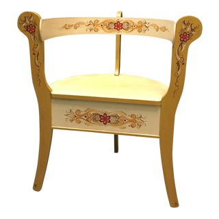1970s Vintage Norwegian Rosemaling Wooden Chair For Sale