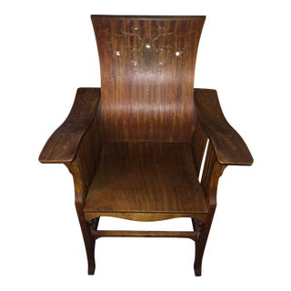 Mother of Pearl inlay British Colonial Mother of Pearl Art Deco Armchair For Sale
