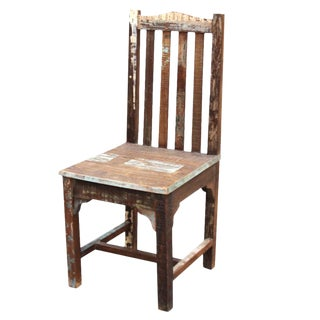 Reclaimed Teak Boho Side Chair For Sale
