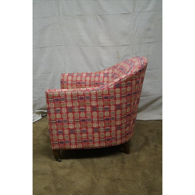 Mid-Century Modern Newerly Upholstered Barrel Back Lounge Chair For Sale - Image 3 of 10