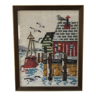 Vintage Framed Dock Scene Crewel Embroidery Art For Sale