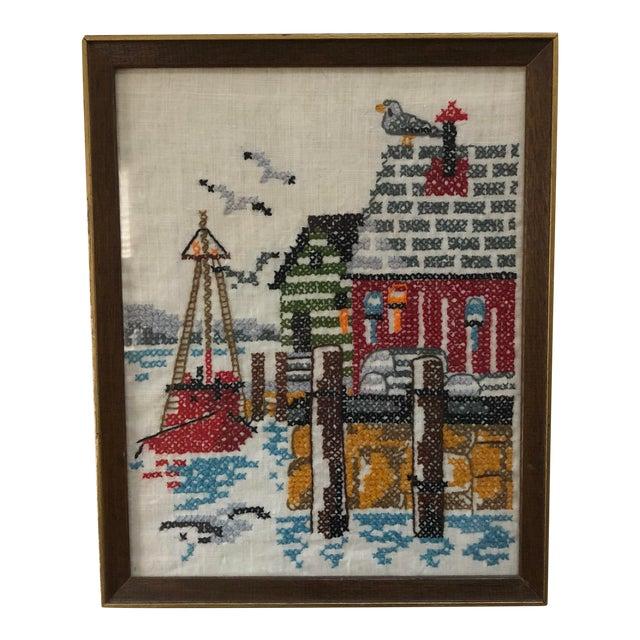 Vintage Framed Dock Scene Crewel Embroidery Art For Sale