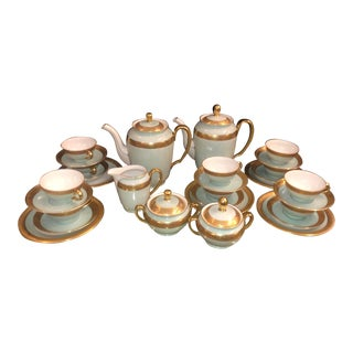 Antique Gold Encrusted Czecho-Slowakia Seafoam Green Coffee Tea Set For Sale