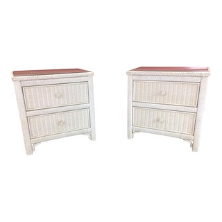 1980s Cottage Henry Link White Rattan Bedside Chests - a Pair