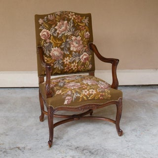 19th Century Antique French Louis XV Original Needlepoint Tapestry Armchair Preview