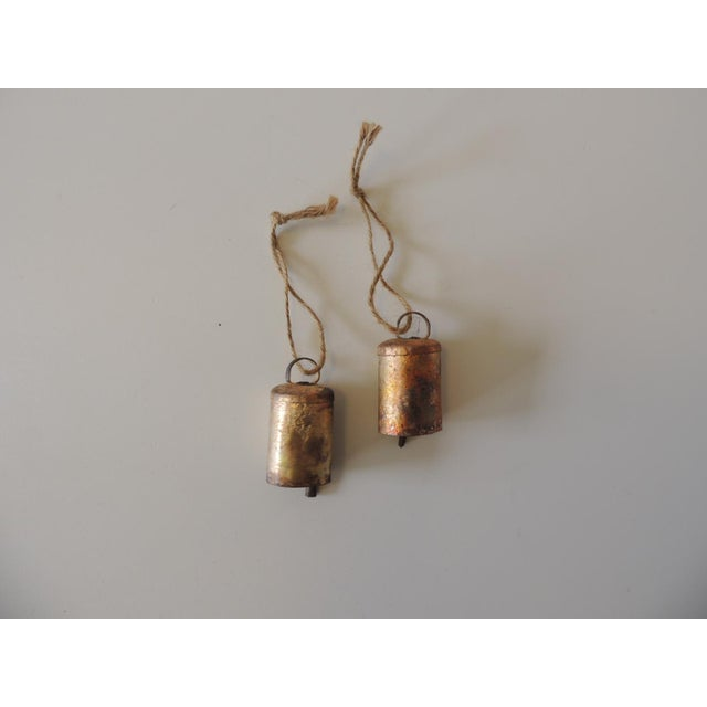 1990s Pair of Gold Leaf Iron Indian Holiday Christmas Tree Ornaments For Sale - Image 5 of 5