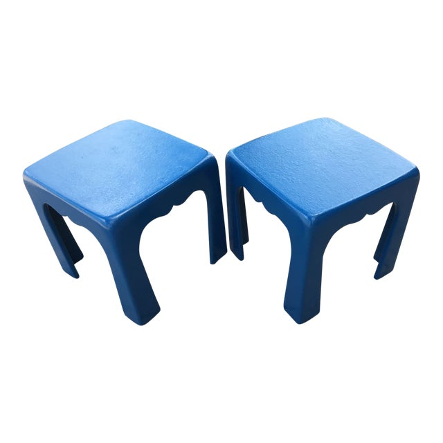 Vintage Blue Fiberglass Occasional Tables - A Pair For Sale