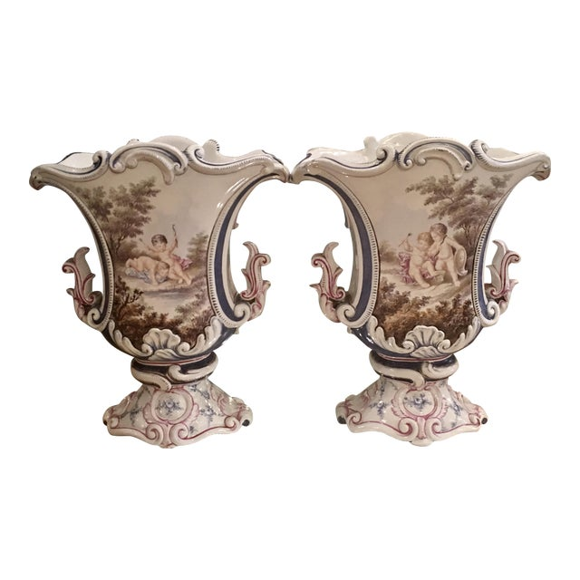 Antique Italian Faience Potter Vases w Angels - a Pair - Image 1 of 5