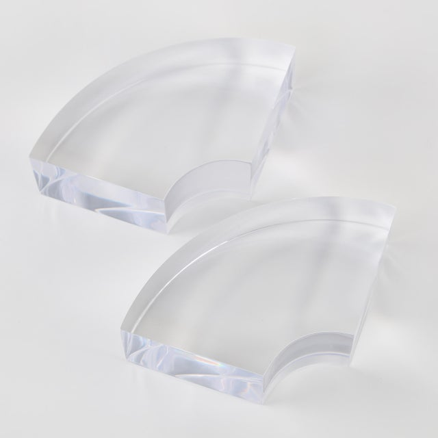 Transparent 1970's VINTAGE QUARTER-CIRCLE LUCITE BOOKENDS- A PAIR For Sale - Image 8 of 8