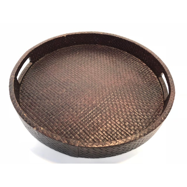 Traditional Transitional Round Rattan Warped Wood Tray For Sale - Image 3 of 4