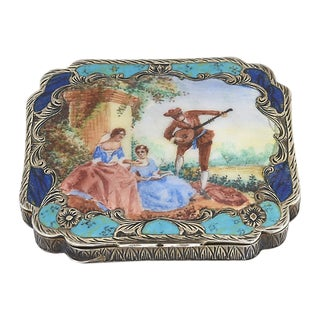 Early 20th Century Antique Silver & Enamel Compact For Sale