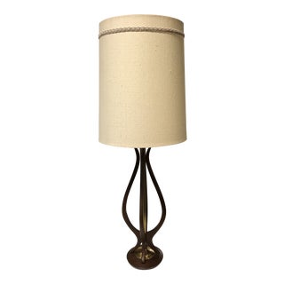 Mid-Century Wood + Brass Table Lamp For Sale