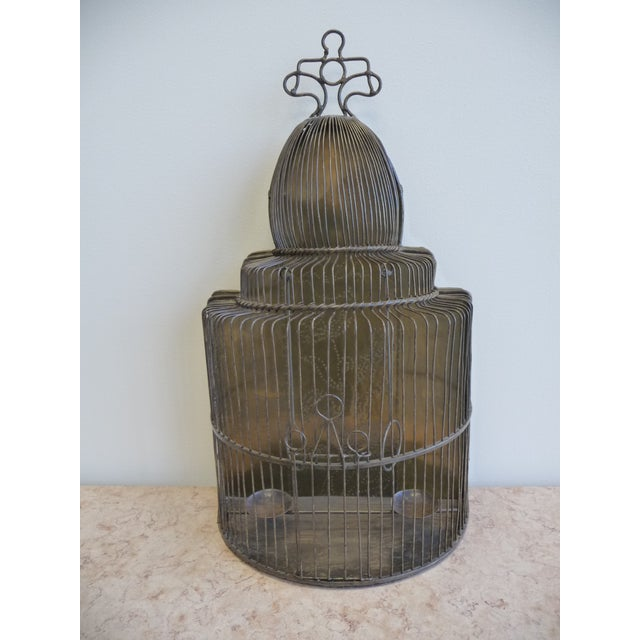 Large European Style Brass Bird Cage - Tabletop or Hangs Flat - Image 2 of 8