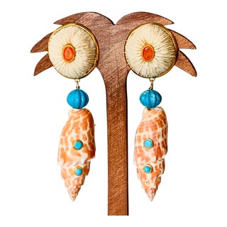Mushroom Coral & Turquoise Earrings For Sale