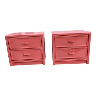 Vintage Newly Lacquered Palm Beach Regency Nightstands - a Pair For Sale