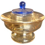 Image of Vintage Art Deco Iridescent Czech Glass Candy Dish For Sale