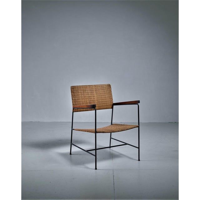 Arden Riddle Rare Arden Riddle Armrest Chair in Rattan For Sale - Image 4 of 5