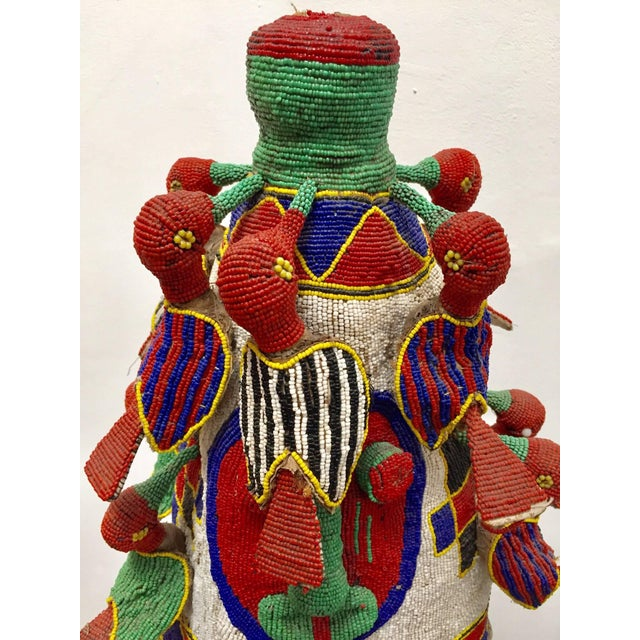 Yoruba Nigeria African Royal Beaded Headdress Crown on Stand For Sale - Image 9 of 13