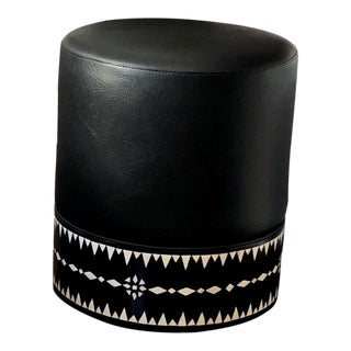 Black Leather Upholstered Camel Bone Inlay Round Pouf For Sale