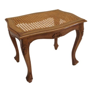 Carved French Caned Seat Bench For Sale