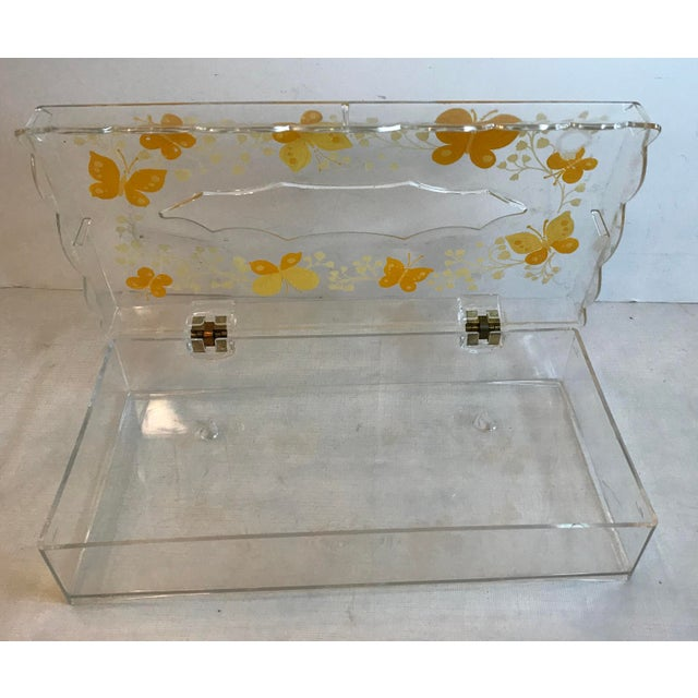 Hollywood Regency Vintage Lucite Painted Tissue Box Cover For Sale - Image 3 of 10
