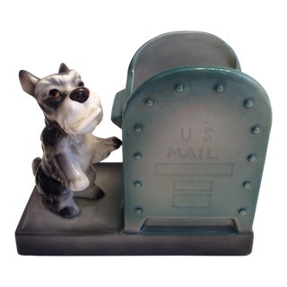 Vintage Scottie Dog & Mailbox Ceramic Planter Holder For Sale