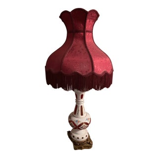 Victorian Style Lamp With Umbrella Shade For Sale