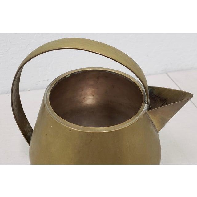 Hayno Focken Hayno Focken (Germany, 1905-1968) Brass Teapot W/ Lid C.1930 For Sale - Image 4 of 6