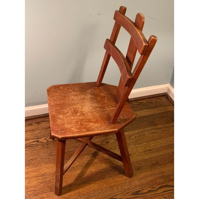 Fabulous pair of primitive cherrywood chairs in worn original finish reminiscent of Jean Touret. Wonderful lines coupled...