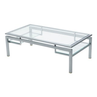 Mid-Century Brushed Steel Brass Coffee Table by Guy Lefevre for Maison Jansen For Sale