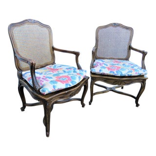 Mid 20th Century Louis XV Oak Caned Open Arm Chairs - a Pair For Sale