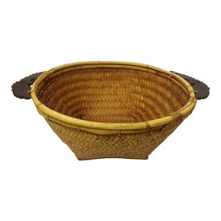 Woven Rattan Carved Wooden Handle Basket For Sale