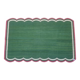 Handmade Cotton Scalloped Rug, Green with Cream and Raspberry Border - 9'x12' For Sale