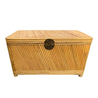 Vintage Palm Beach Rattan Trunk Chest or Coffee Table For Sale