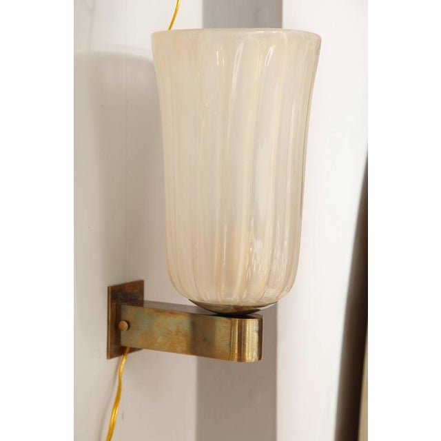 Glass Pair of Murano Glass and Brass Wall Sconces For Sale - Image 7 of 8