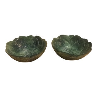 Vintage Italian Majolica Leaf Bowls - a Pair