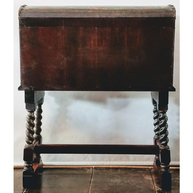 Spanish Colonial Revival Painted Leather and Wood Drop-Front Desk on Stand and Chair For Sale - Image 9 of 13