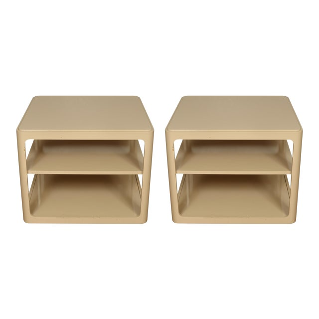 Mid 20th Century Karl Springer Style Tiered Side Tables - a Pair For Sale