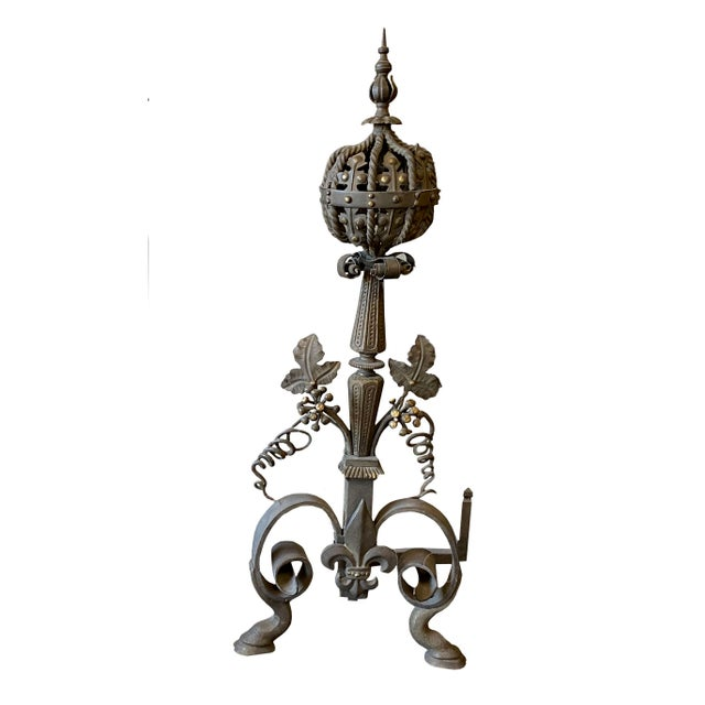 19th Century French Wrought Iron and Bronze Andirons - a Pair For Sale - Image 4 of 5