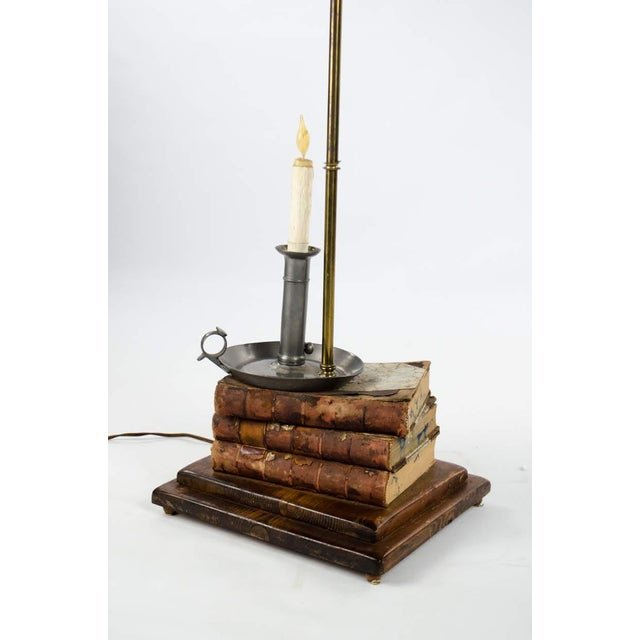 Leather-Bound Book Stack and Pewter Candle Holder Table Lamp For Sale - Image 4 of 13