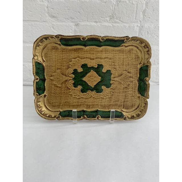 Beautiful rectangular Florentine Tray, mainly gold with emerald accents. Use as a catch all or just place on a table for a...