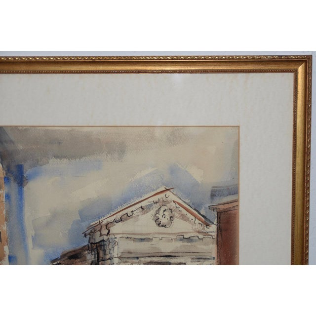 1950s 1950s European Street Scene Original Watercolor Painting by Riva Helfond For Sale - Image 5 of 9