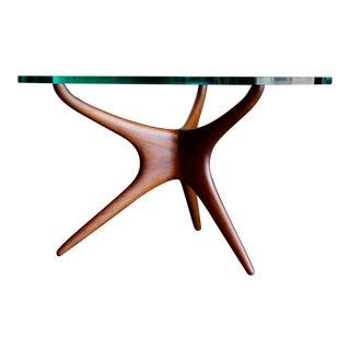 Mid-Century Modern Vladimir Kagan for Kagan Dreyfuss Inc Walnut Tri-Symmetric Occasional Table
