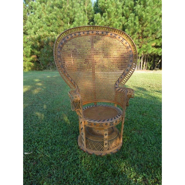 """8/"""" Peacock//Fan High Back Wicker Chair NEW"""